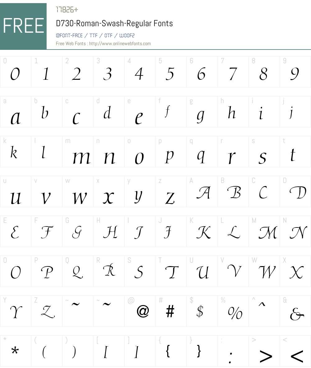 D730-Roman-Swash Font Screenshots