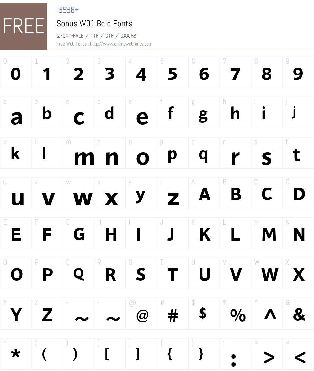 SonusW01-Bold Font Screenshots