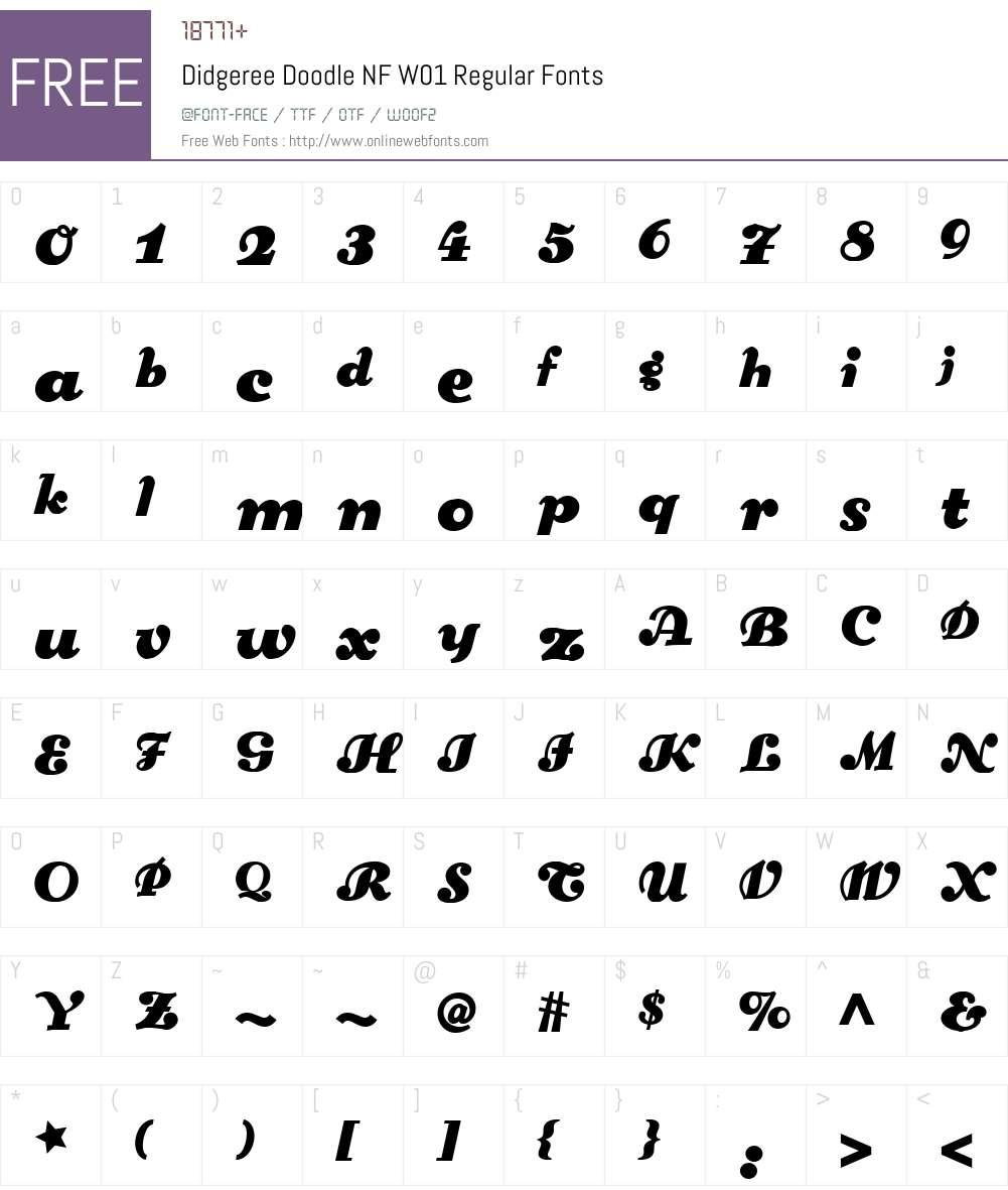 DidgereeDoodleNFW01-Regular Font Screenshots