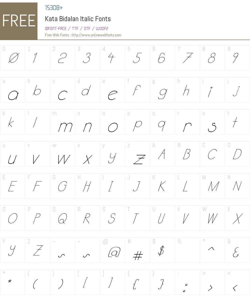Kata Bidalan Italic Font Screenshots