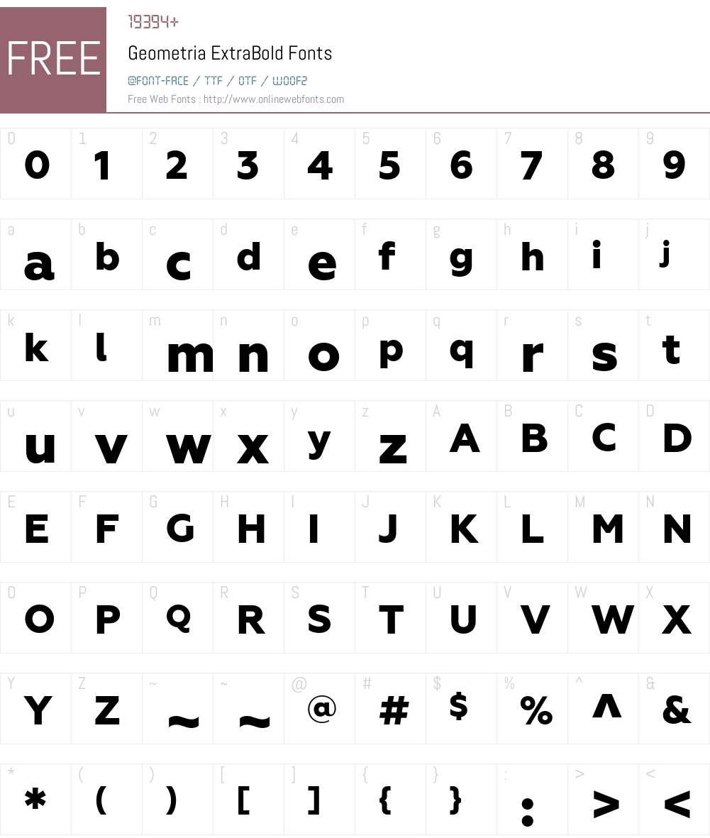Geometria ExtraBold Font Screenshots