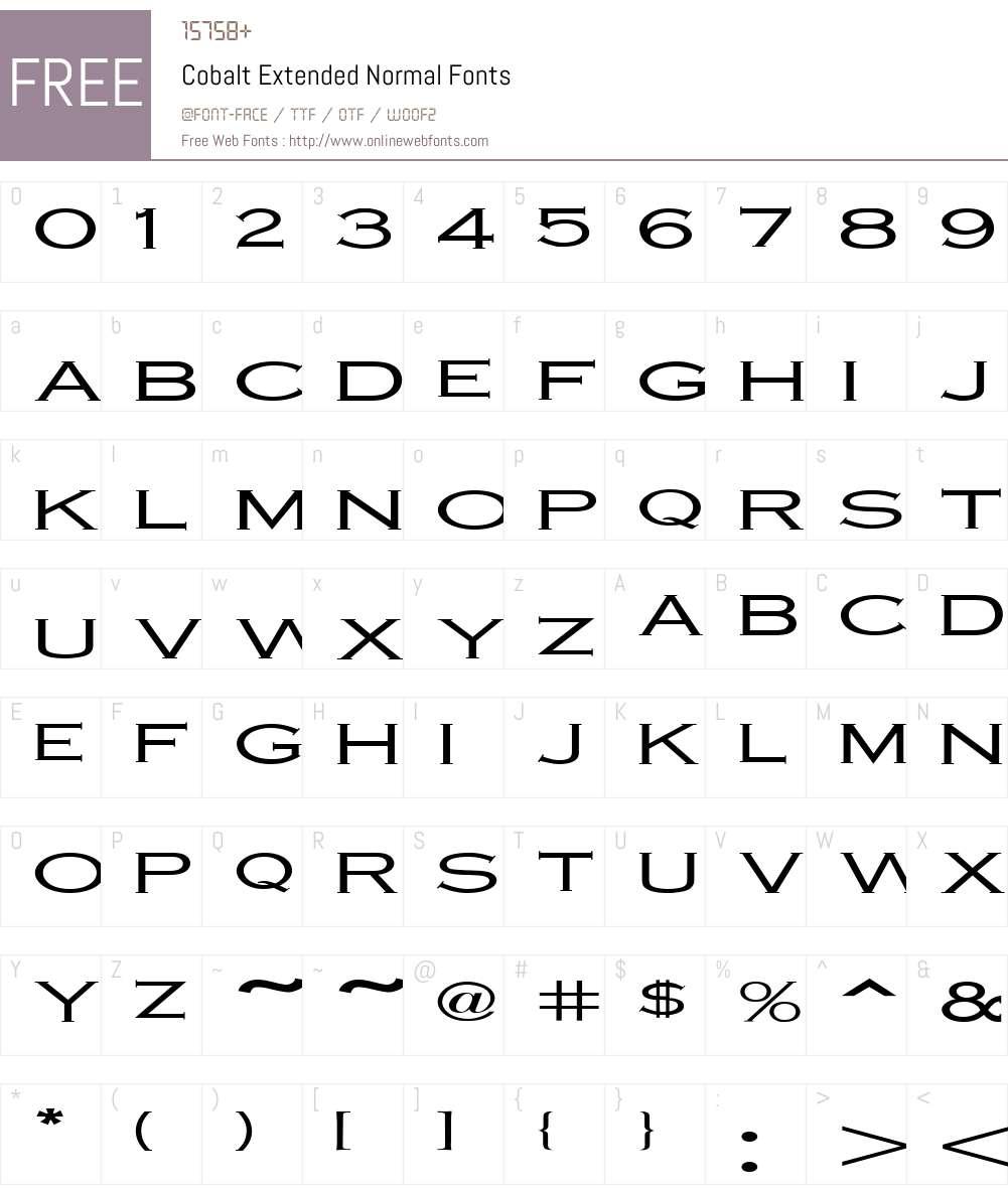 Cobalt Extended Font Screenshots