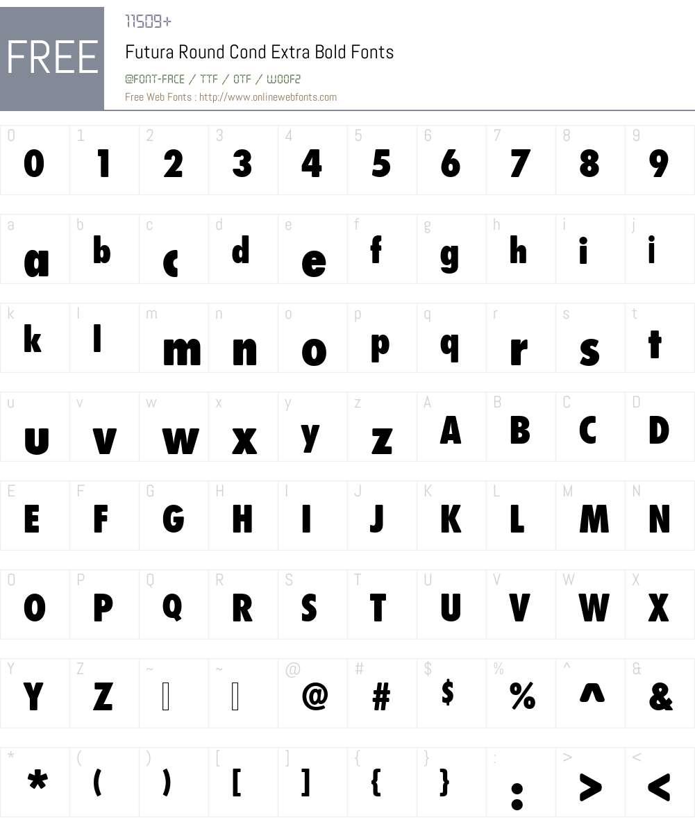 Futura Round Cond Extra Bold Font Screenshots