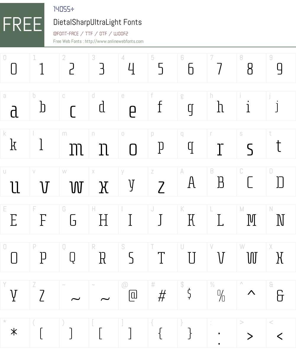 Dietal Sharp UltraLight Font Screenshots