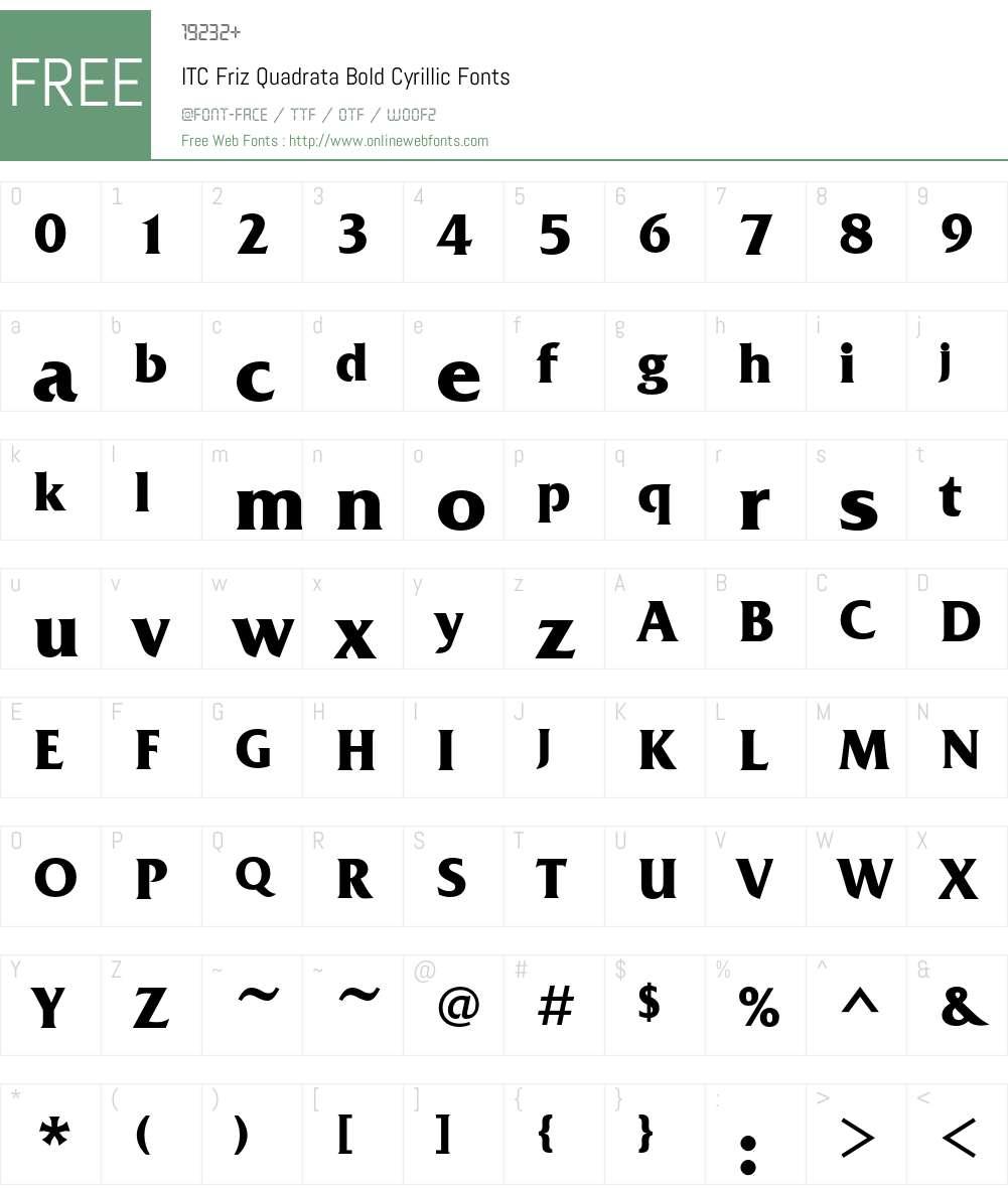 FrizQuadrataC Font Screenshots