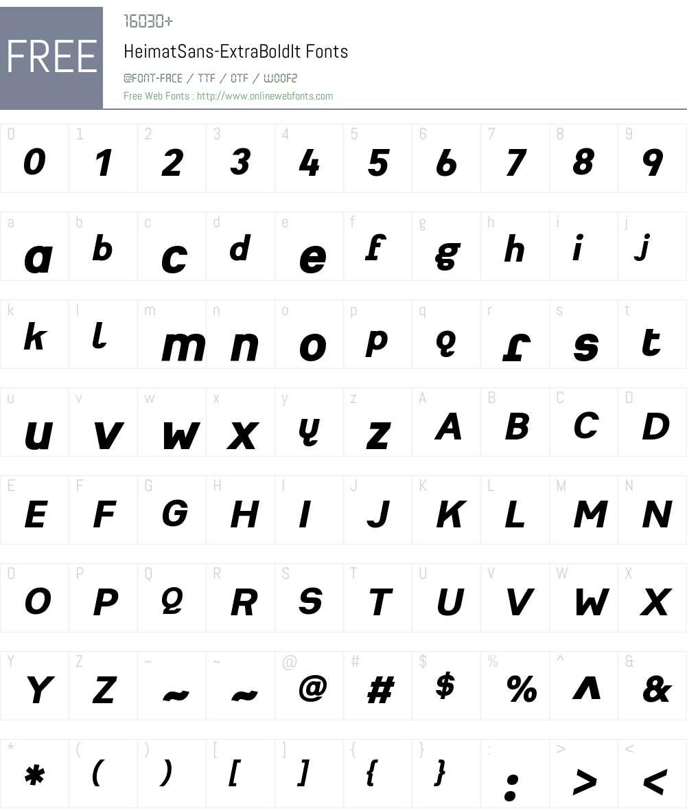 Heimat Sans ExtraBold Font Screenshots