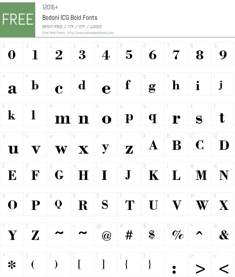 Bodoni ICG Font Screenshots