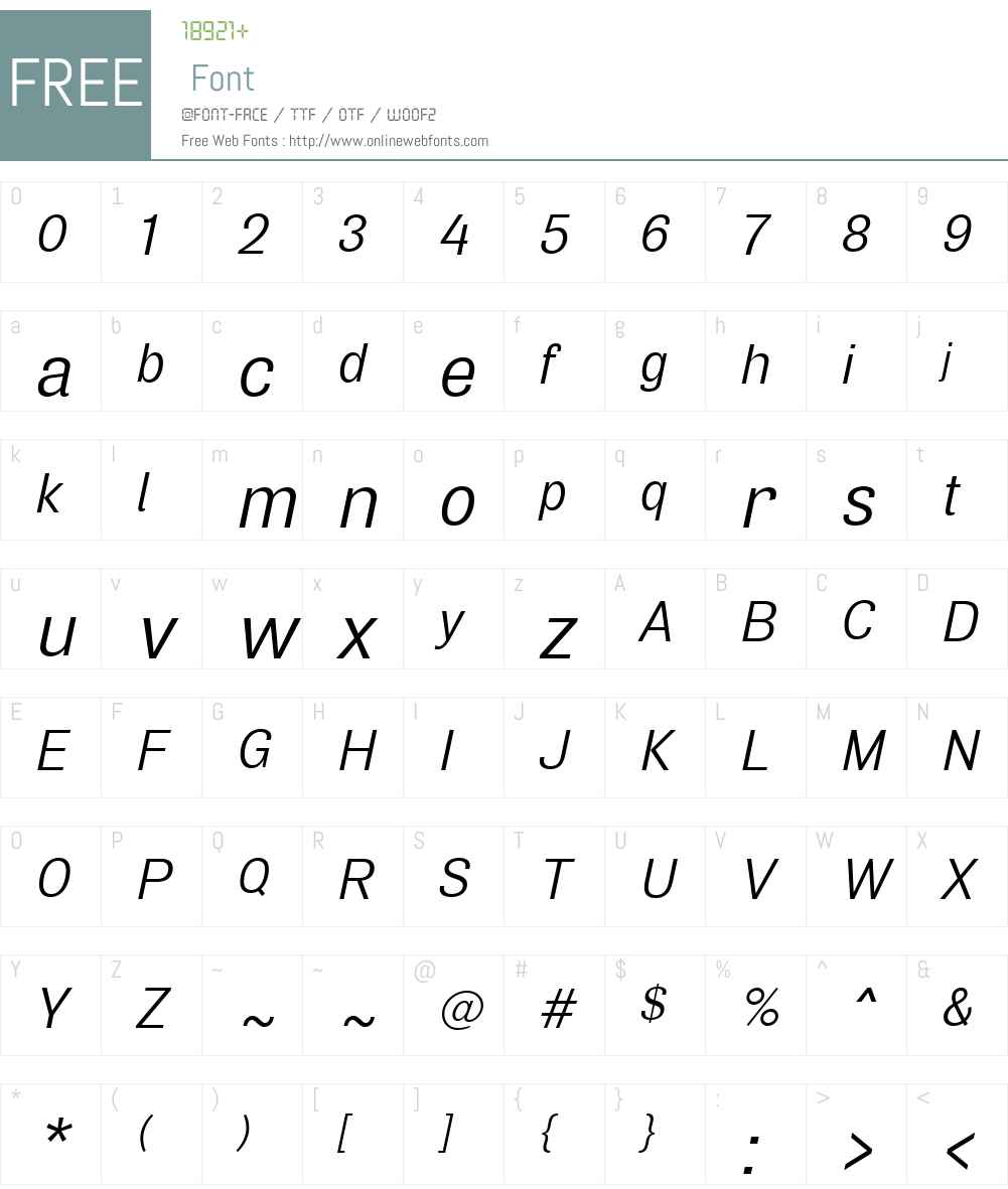 AirW00-RegularOblique Font Screenshots
