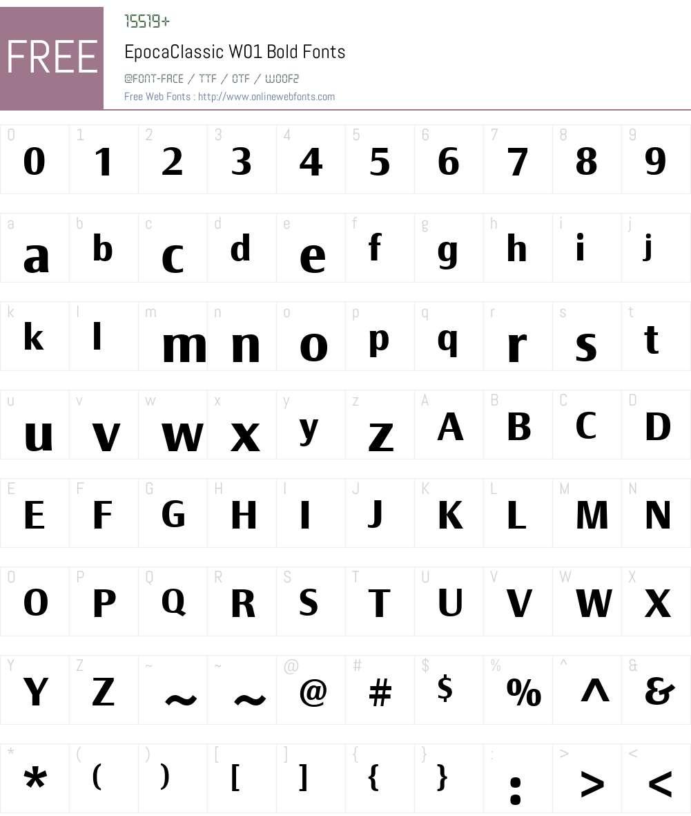 EpocaClassicW01-Bold Font Screenshots