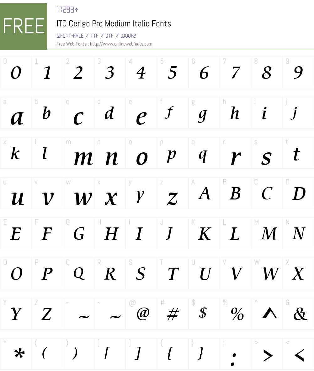 ITC Cerigo Pro Medium Font Screenshots