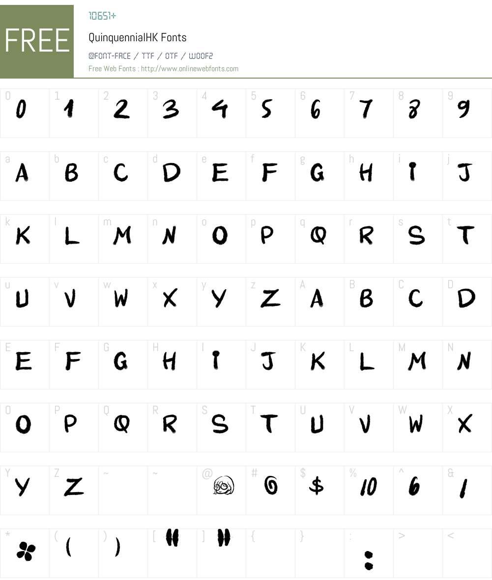 QuinquennialHK Font Screenshots