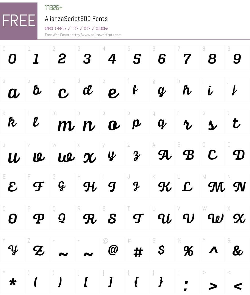 Alianza Script 600 Font Screenshots