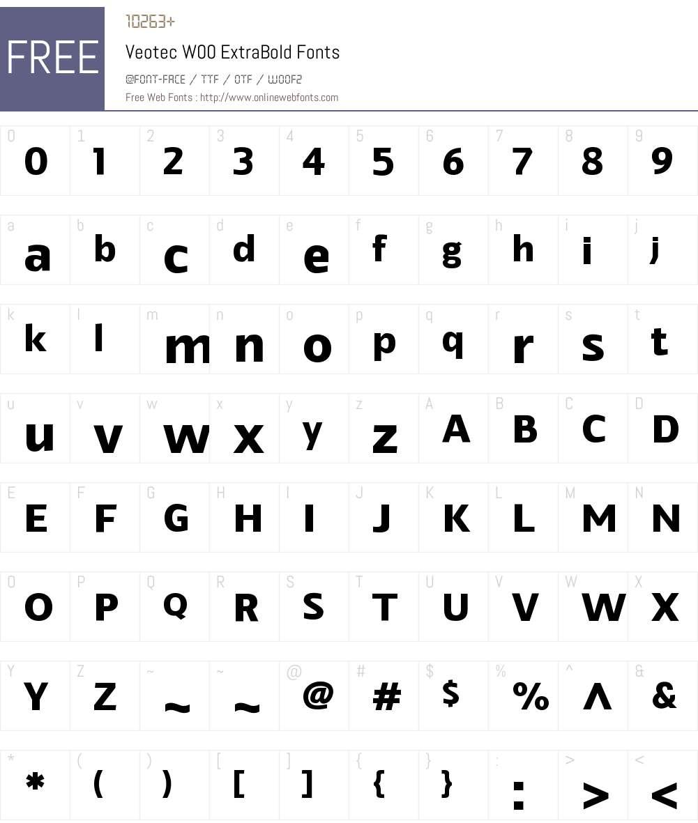 VeotecW00-ExtraBold Font Screenshots