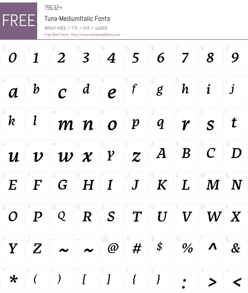 Tuna-MediumItalic Font Screenshots