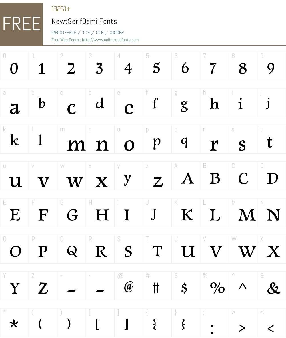 Newt Serif Demi Font Screenshots