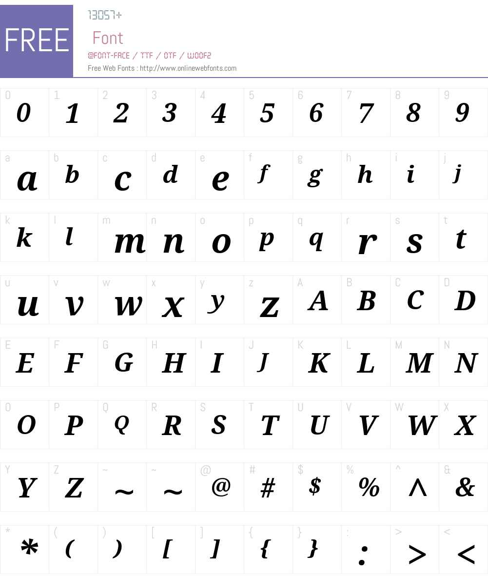 DroidSerifW01-BoldItalic Font Screenshots
