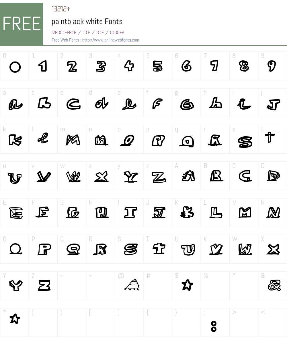 paintblack white Font Screenshots