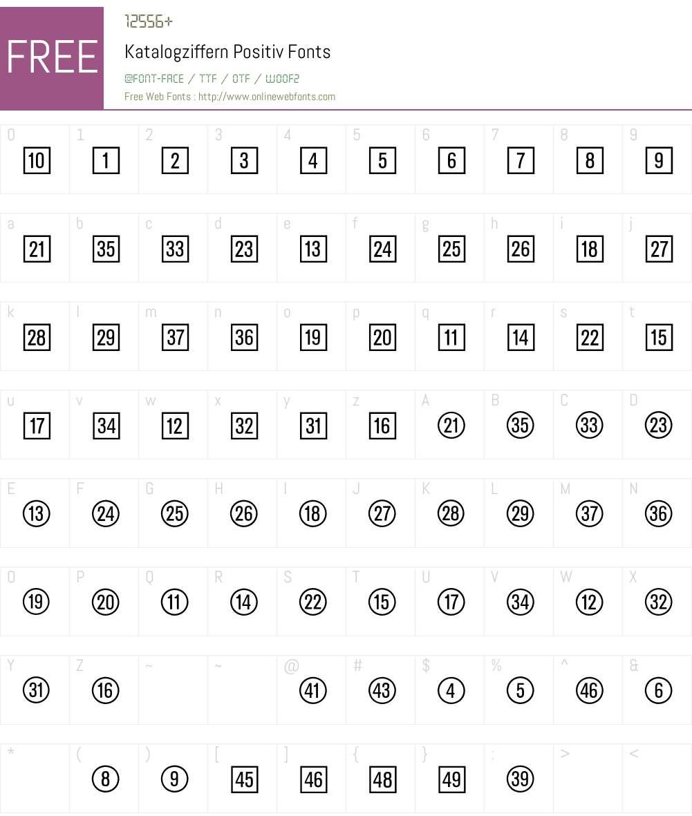 Katalogziffern Positiv BQ Font Screenshots