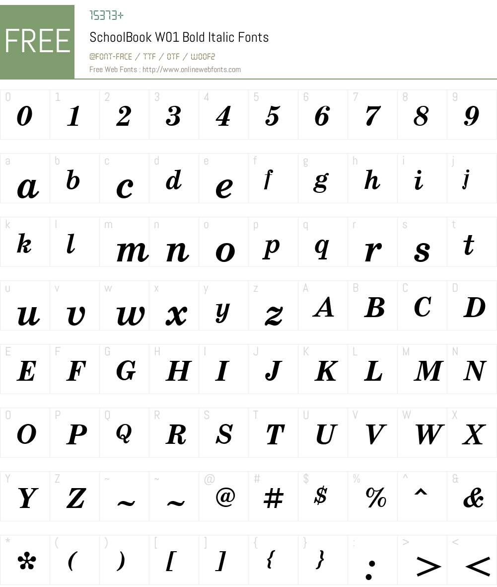 SchoolBookW01-BoldItalic Font Screenshots