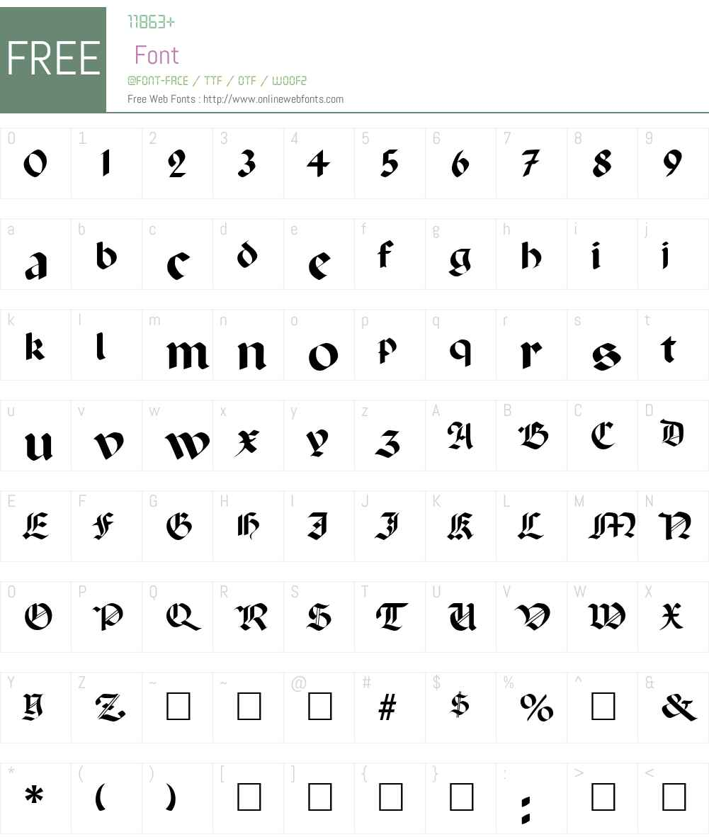 Paladin Font Screenshots