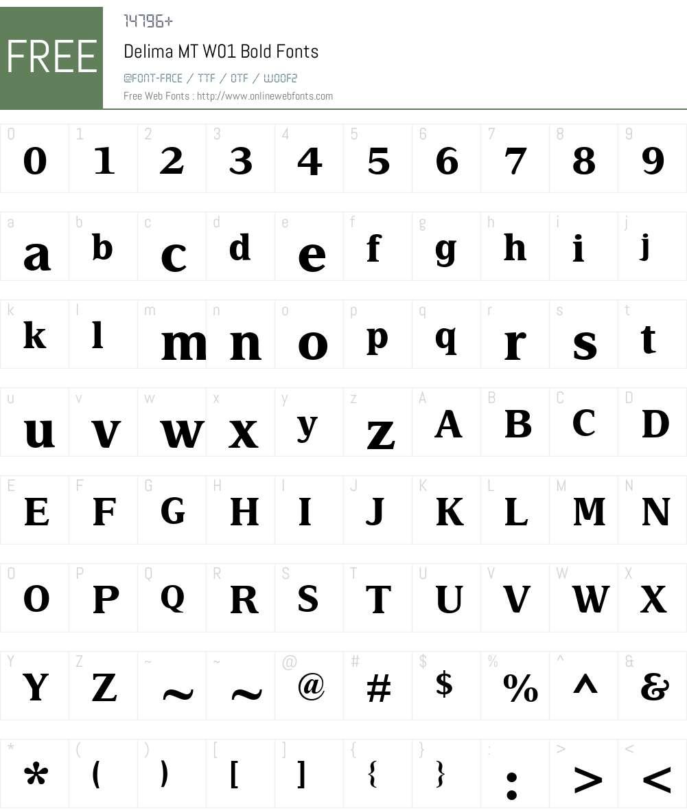 DelimaMTW01-Bold Font Screenshots