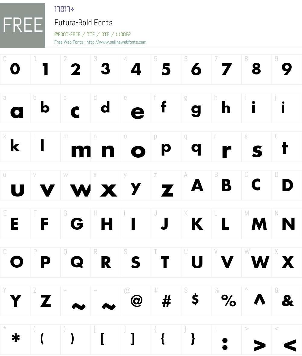 Futura-Bold Font Screenshots
