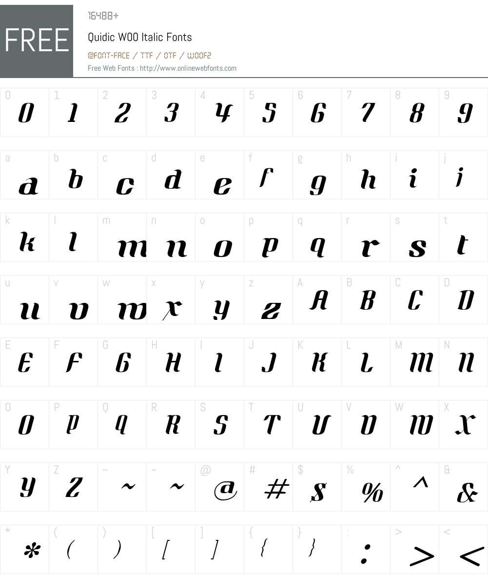 QuidicW00-Italic Font Screenshots