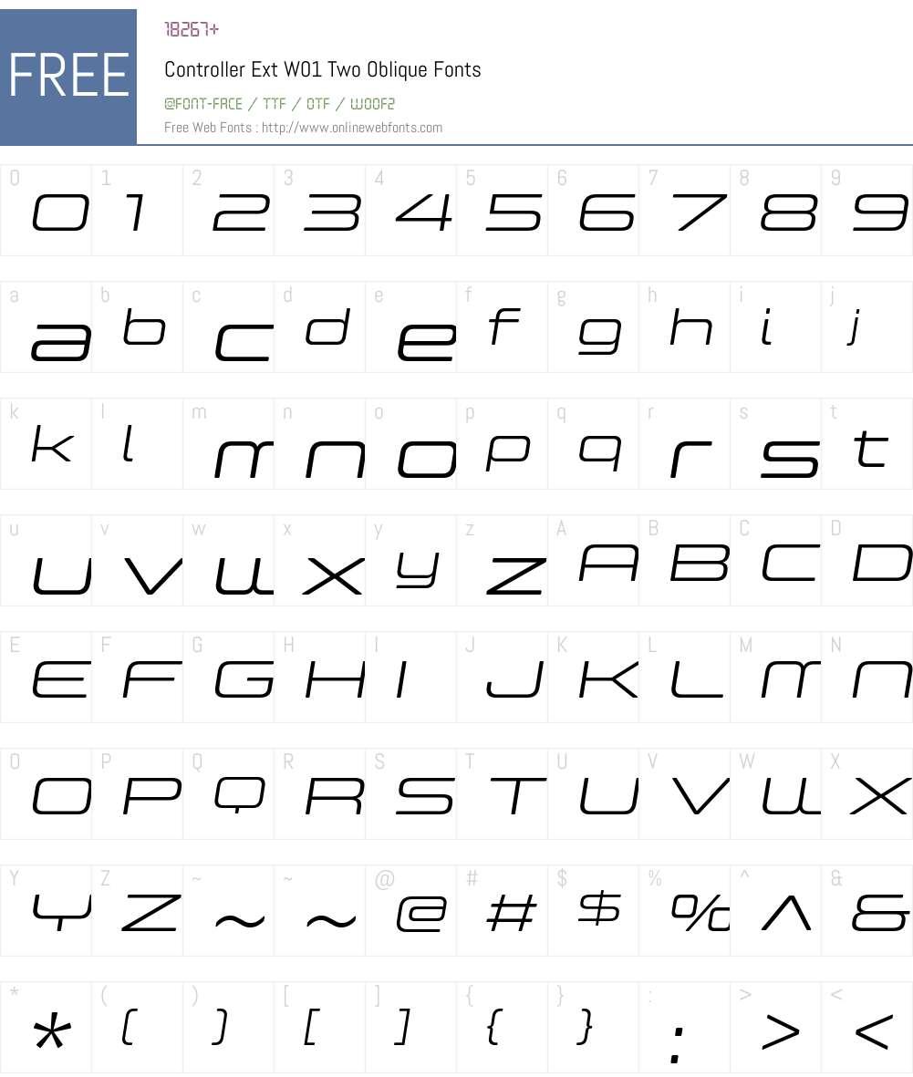 ControllerExtW01-TwoOblique Font Screenshots