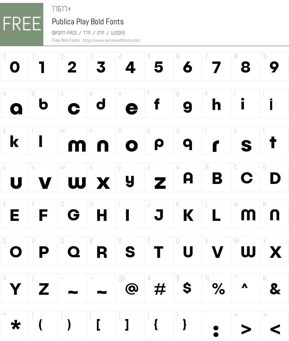PublicaPlay-Bold Font Screenshots