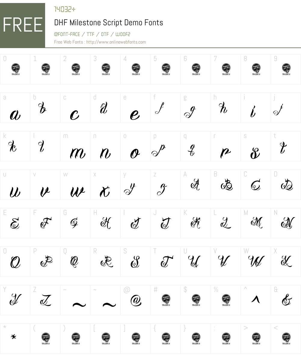 DHF Milestone Script Demo Font Screenshots