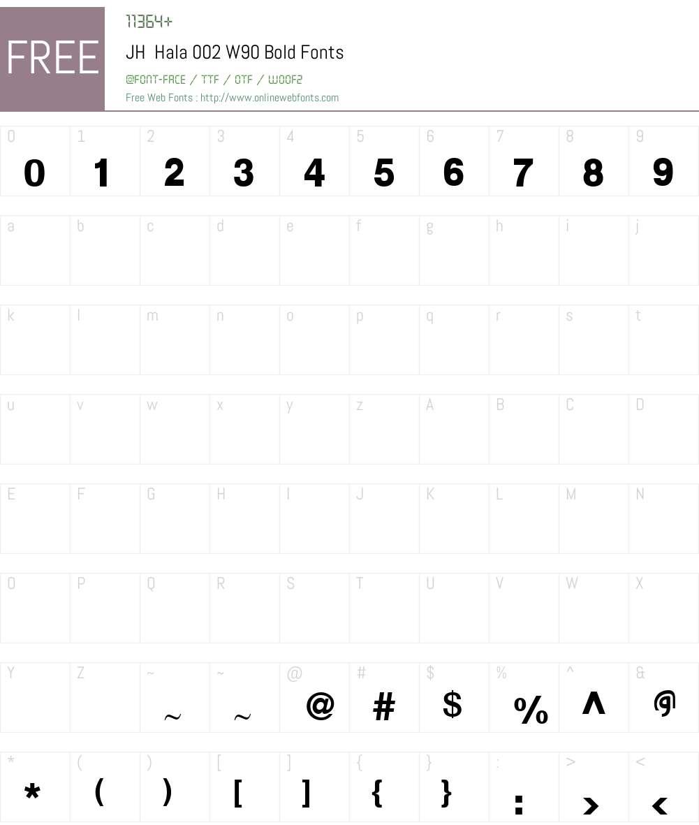 JHHala002W90-Bold Font Screenshots