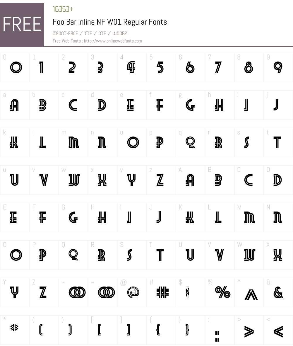 FooBarInlineNFW01-Regular Font Screenshots