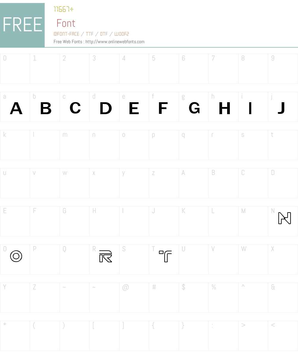 TRON muestre CINE1 Font Screenshots