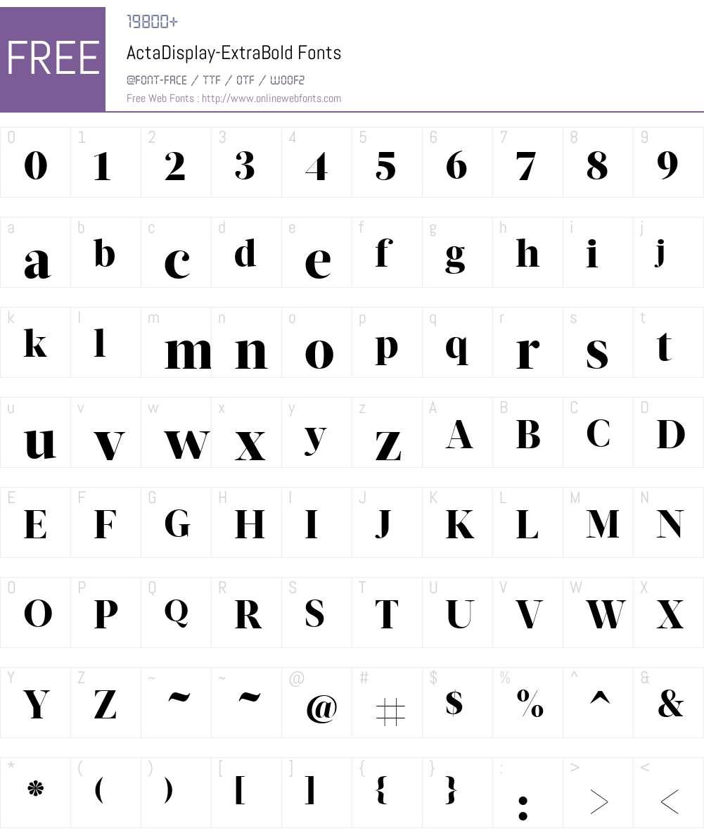 ActaDisplay-ExtraBold Font Screenshots