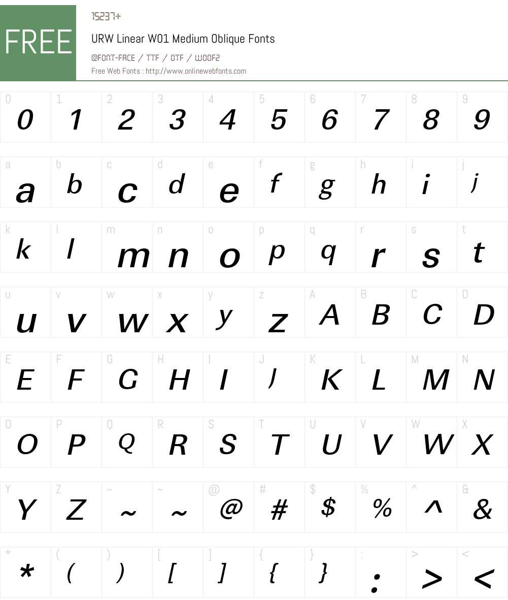 URWLinearW01-MediumOblique Font Screenshots