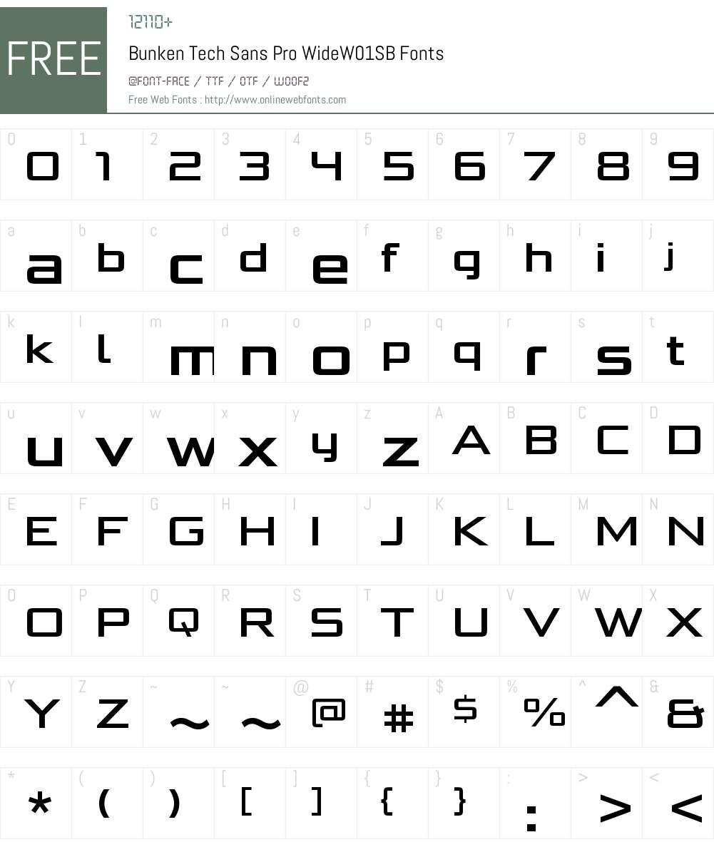 BunkenTechSansProWideW01-SB Font Screenshots