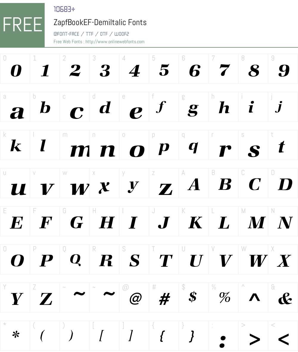 ZapfBookEF-DemiItalic Font Screenshots