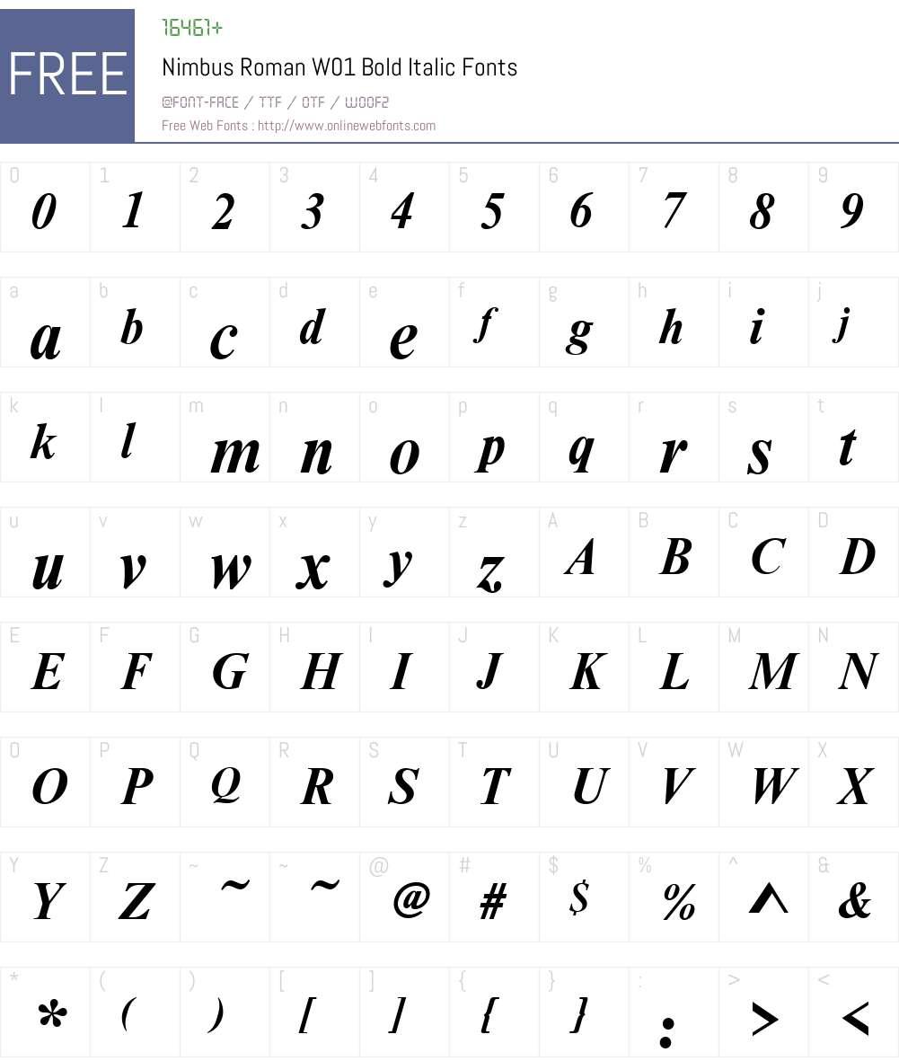 NimbusRomanW01-BoldItalic Font Screenshots