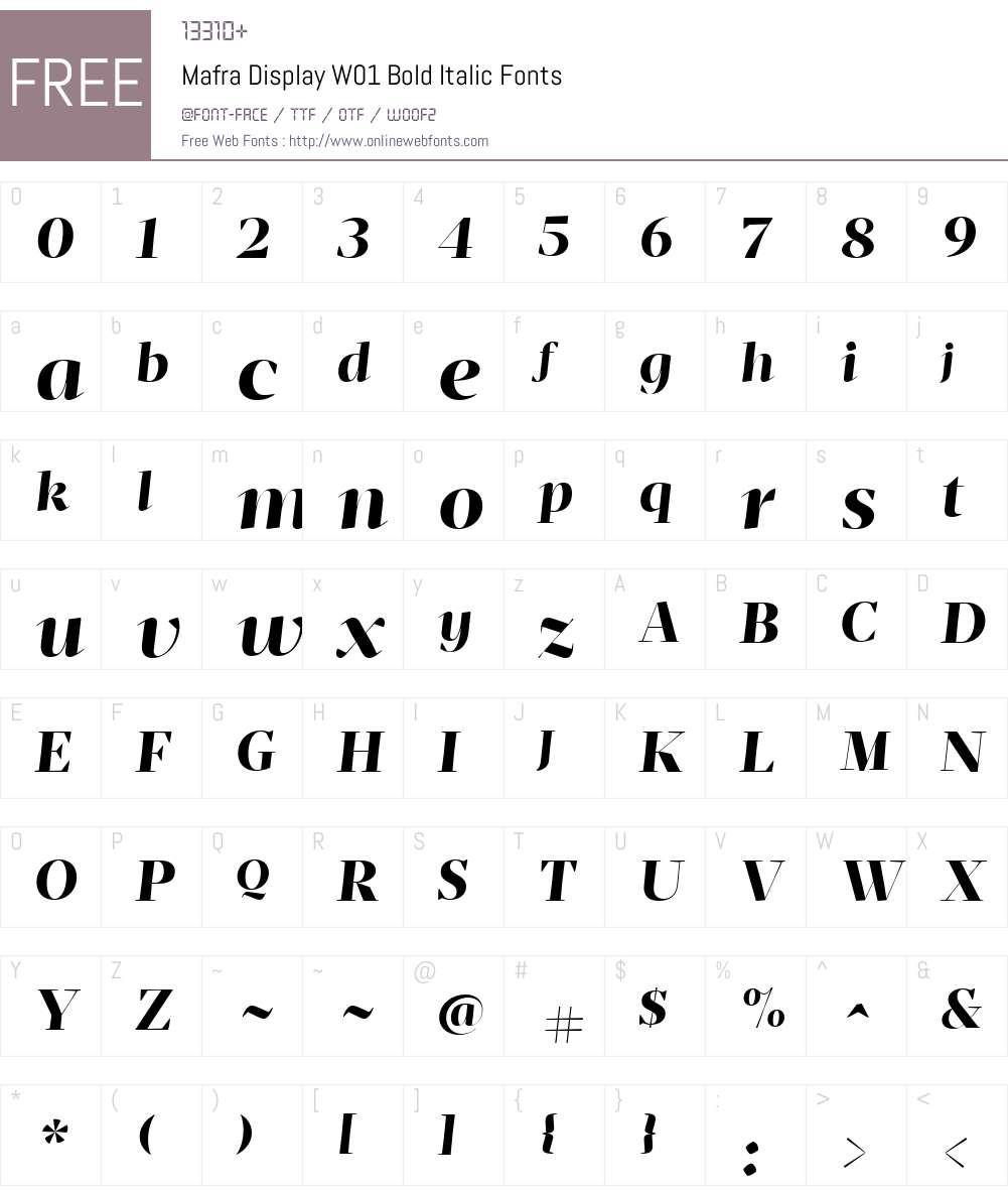MafraDisplayW01-BoldItalic Font Screenshots