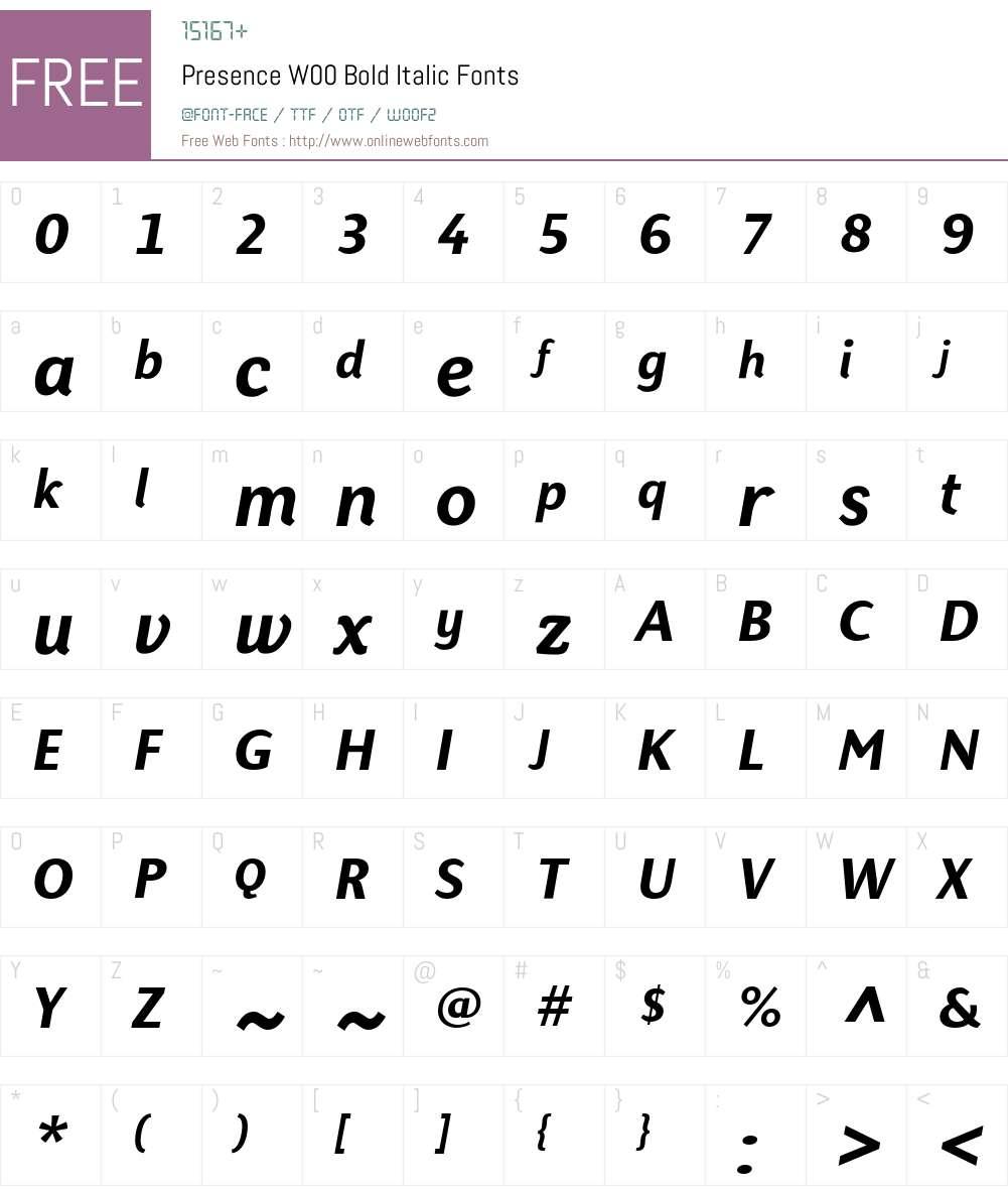 PresenceW00-BoldItalic Font Screenshots