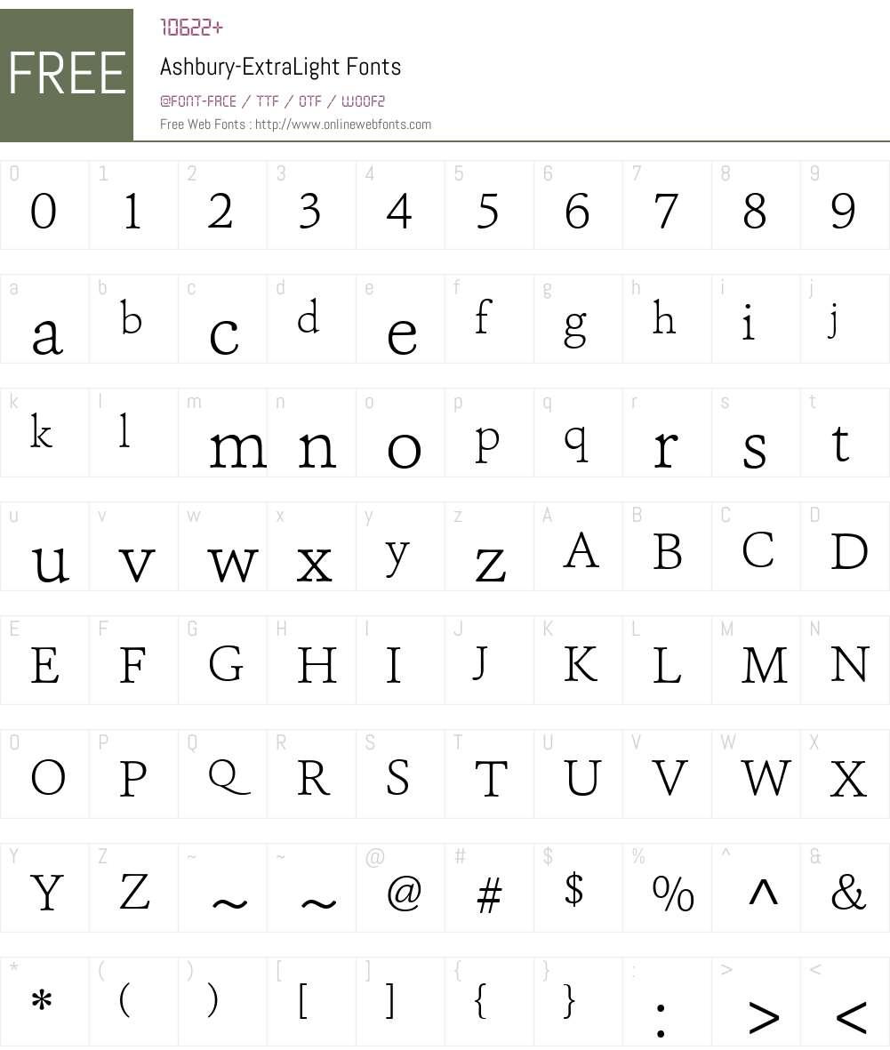Ashbury-ExtraLight Font Screenshots