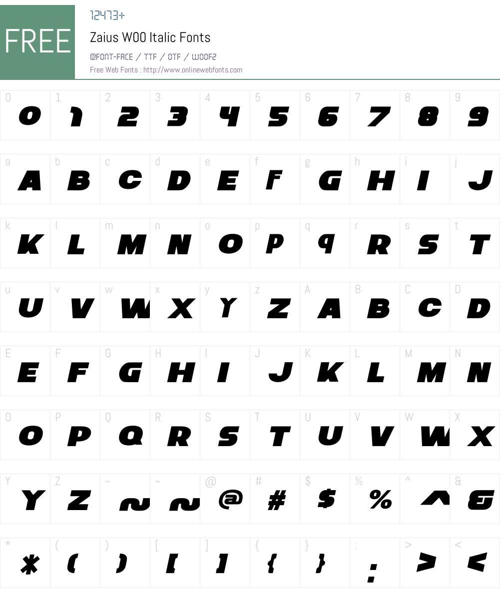 ZaiusW00-Italic Font Screenshots