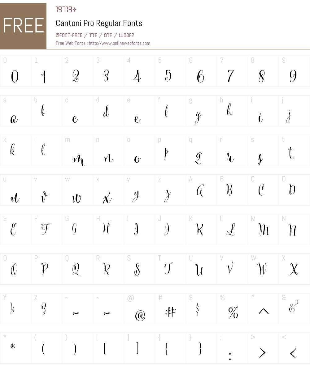 CantoniPro-Regular Font Screenshots
