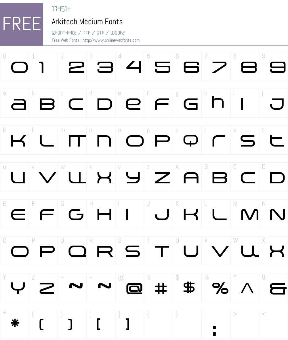 Arkitech Medium Font Screenshots