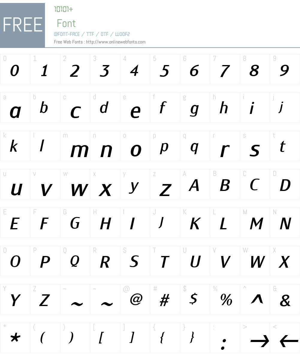 MonemW01-NormalItalic Font Screenshots