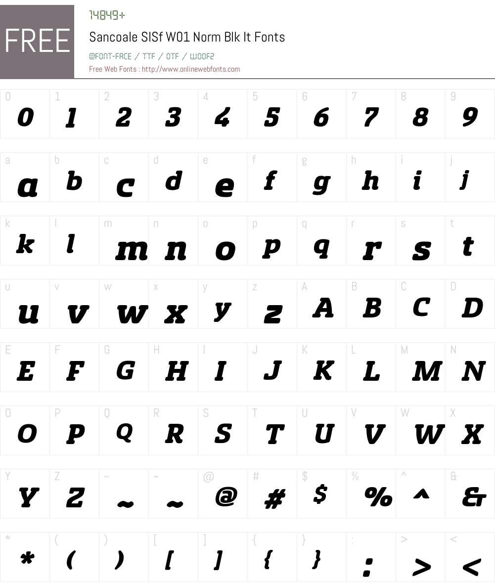 SancoaleSlSfW01-NormBlackIt Font Screenshots