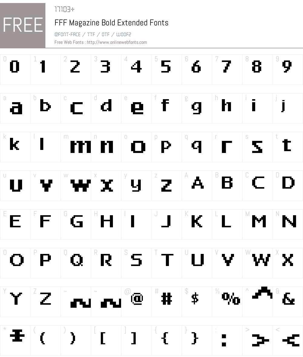 FFF Magazine Bold Extended Font Screenshots
