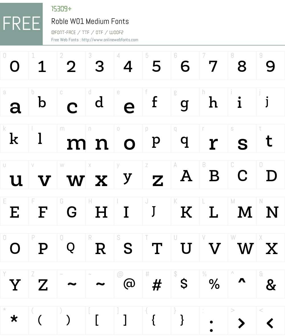RobleW01-Medium Font Screenshots