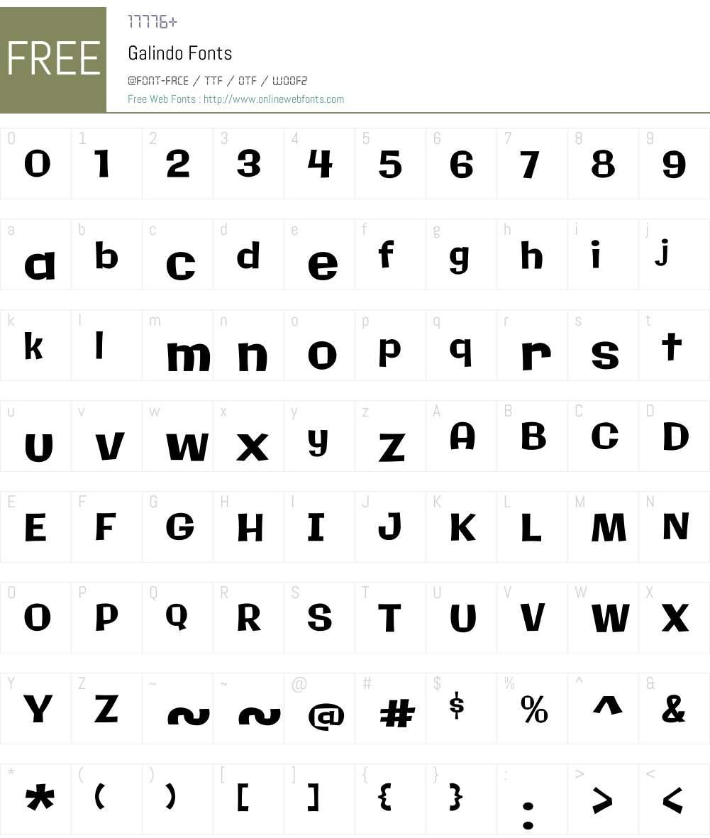 Galindo Font Screenshots