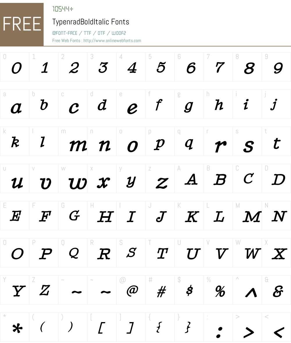 TypenradBoldItalic Font Screenshots